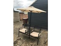 GARDEN BENCH TABLE UMBRELLA AND PADS SET NEW