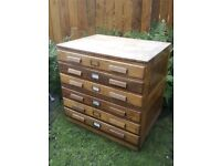 Vintage solid architect style chest of drawers