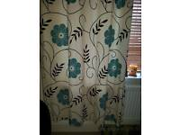 Duck egg blue flower and brown leaves lined eyelet curtains from next