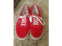 Mens Low Canvas Vans in Red - Great Condition