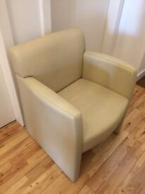 Pure leather low lounge chair - cream