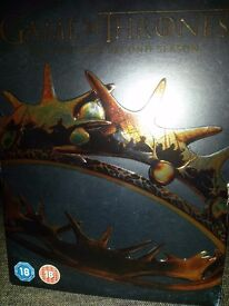 Complete second season Game of Thrones box set. Great condition, only watched once.