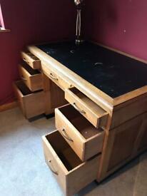 Solid oak double pedestal leather top writing desk