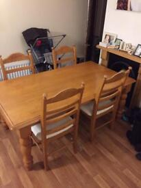 Solid Wooden Dining Table & Chairs
