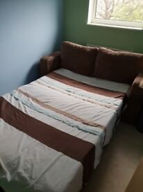 Chocolate brown 3 seater double sofa bed