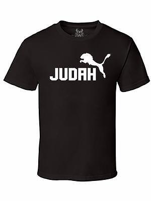 Mens Printed Lion of Judah Christian Jesus God Bible Love Cross Cotton T-Shirt