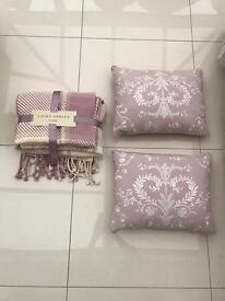 Laura Ashley set of 2 large cushions and throw. New with tags.