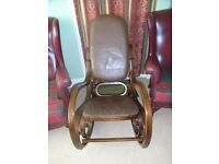 Genuine Bentwood rocking chair with brown leather patchwork padded seat & back