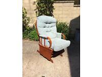 Nursing rocking chair with matching rocking stool