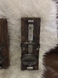 2 X LARGE RUSTIC RECLAIMED SOLID WOOD WALL HAND CRAFTED CANDLE HOLDER