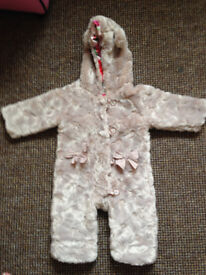 TED BAKER FAUX FUR CUDDLY BEAR ALL IN ONE PRAM SUIT 9-12 Months new