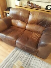 Two soft leather sofas
