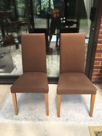 2 dark tan fabric chairs, for dining room/restaurant/home - FOR SALE