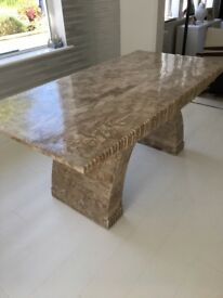 Marble dining table and scroll back chairs