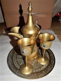 Vintage Arabic Brass Set Tray Dallah and 4 Cups