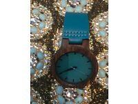 Blue wooden women's watch. 2017 must have item!