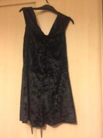 Off the shoulder black velvet playsuit
