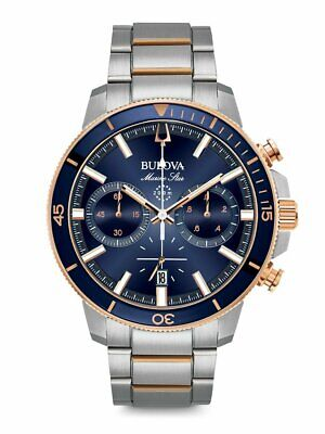 Bulova Silver Chronograph Men Watch Marine Star 98B301