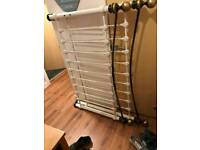 Beauriful metal white and gold brass double bed
