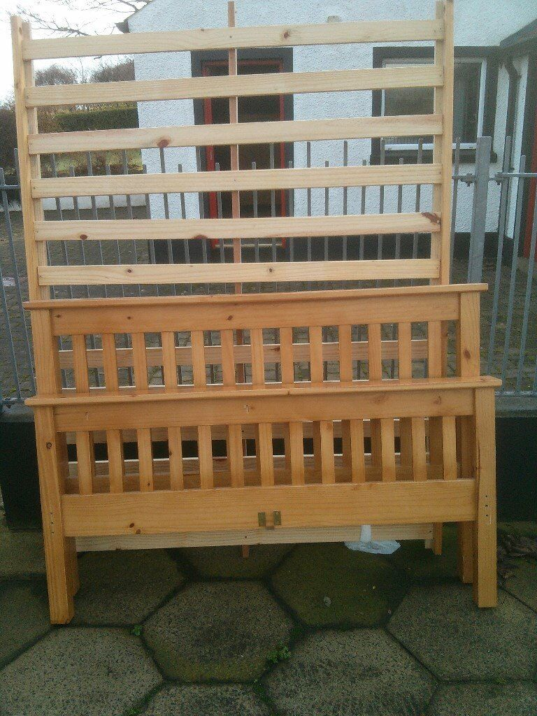 PINE SLATTED DOUBLE BED AND OPTIONAL MATTRESS