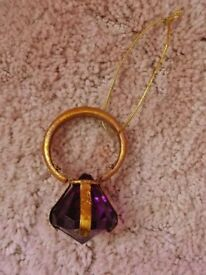 Amethyst Purple Artificial Gem Gold Ring Christmas Tree Decoration Pirate Fancy Dress Costume Prop