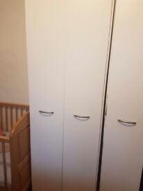 3 white wardrobes in good condition for £50