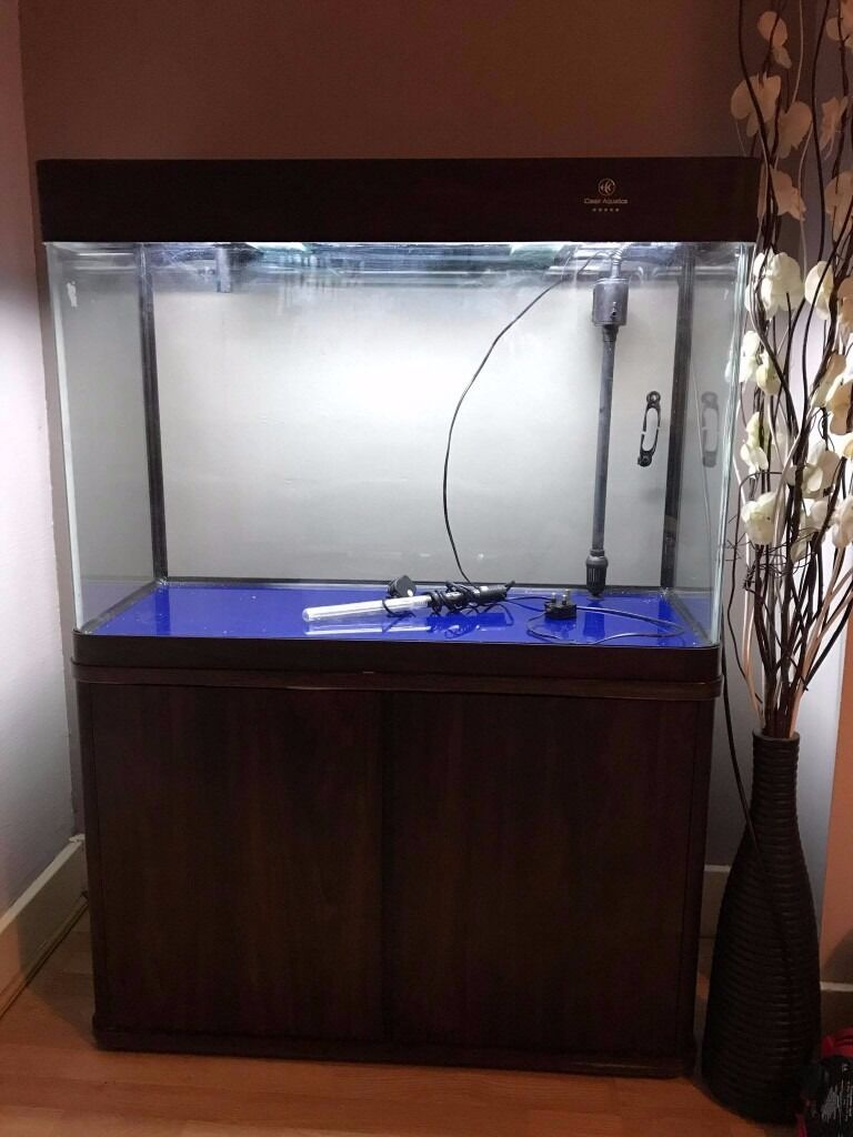 Cabinet aquarium fish tank tropical - Cleair Gangese Aquarium 210 Litre Saltwater Marine Tropical Tank Cabinet Darkwood