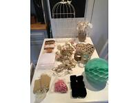 Job Lot Shabby Chic Wedding decorations. Poms, Hearts, hessian, table numbers, confetti cones etc