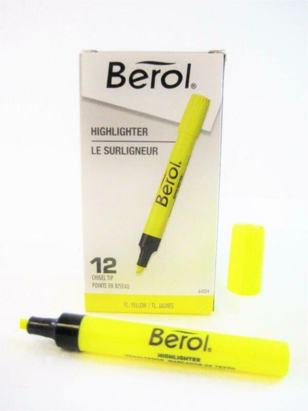Berol Tank Highlighter Chisel Tip Color: Yellow, One Dozen (64324) New