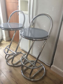 Two 1980s Kitchen Bar Stools Chrome and Grey finish