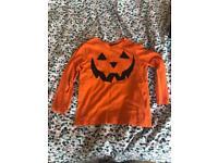 H & M kids long sleeved pumpkin top size 4-6 years