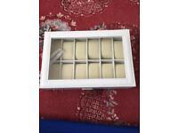 White Leatherette Watch Storage Box