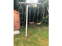 Double swing set and climbing ladders