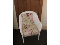 Laura Ashley Summer Palace Reupholstered Lloyd Loom Wicker Chair & Cushion Conservatory Bedroom