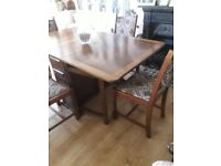 LOVELY SOLID OAK 1950'S TABLE & CHAIRS VINTAGE OR GREAT FOR UPCYCLE, LOVELY STURDY SET