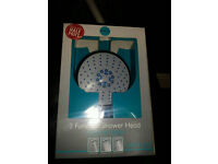3 function large shower head with chrome finish. 1 for £5. Or wholesale price £3 each for 10 pcs