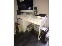 Ikea Micke office desk with two drawers and a cupboard