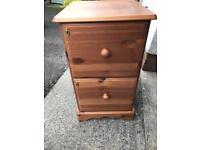 Pine 2 drawer filing cabinet.