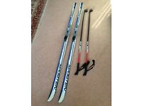 Cross country/Nordic/touring skis with bindings and poles - junior/kids