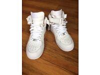 Nike Air Force 1 Hi-Top White Trainers - Size 5 (Euro 38)