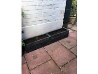 4 x Black granite effect garden planters