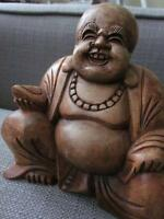 Genuine Hand Carved Wooden Laughing Buddha Bought from Thailand