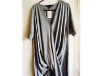 Grey wrap ruched tunic
