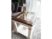 VINTAGE COFFEE TABLE WHITE & WALNUT SHABBY CHIC WITH TOP GLASS
