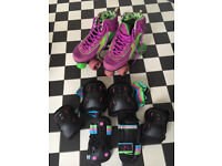 Like New Pair of Rio Roller Skates Size 3 with Elbow, Wrist & Knee Pads £25