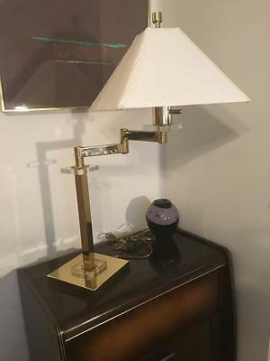 Pair Frederick Cooper Brass Lucite Swing Arm Table Lamps Nice Mid Century Modern