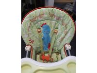 In The Night Garden High Chair, Excellent condition, removable tray for washing.