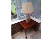 Cherrywood occasional table with ceramic lamp and shade