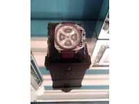 Diesel Designer Watch with brown leather strap in leather box with book