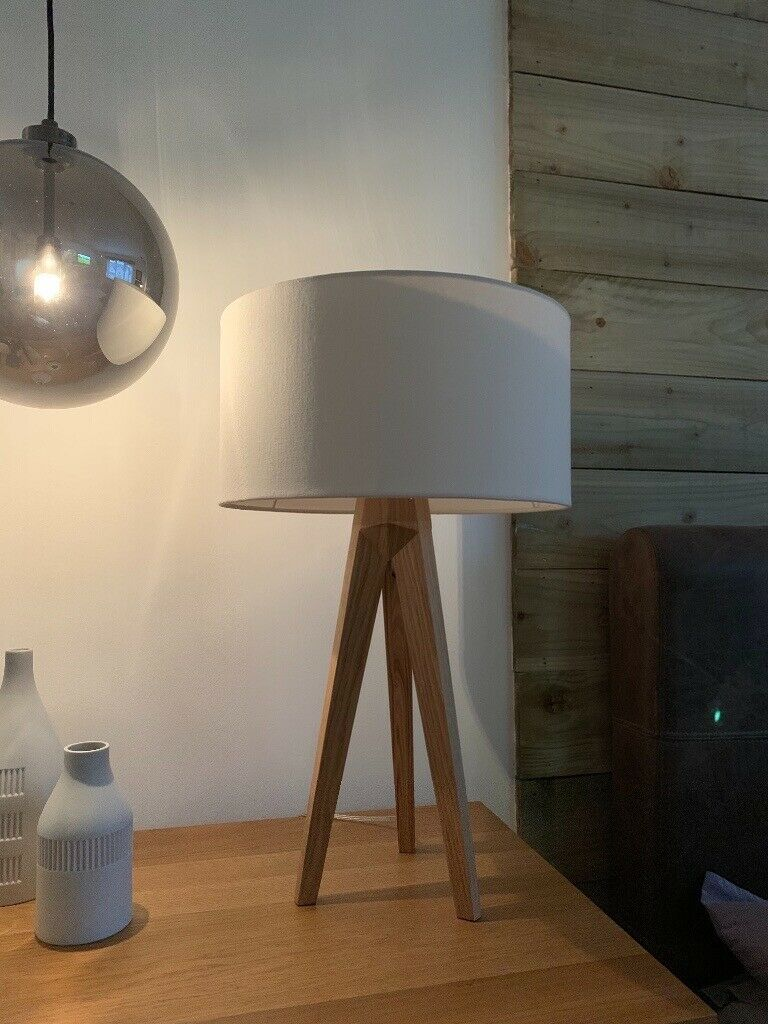 Habitat Ash Wooden Tripod Lamp With Shade In Perth
